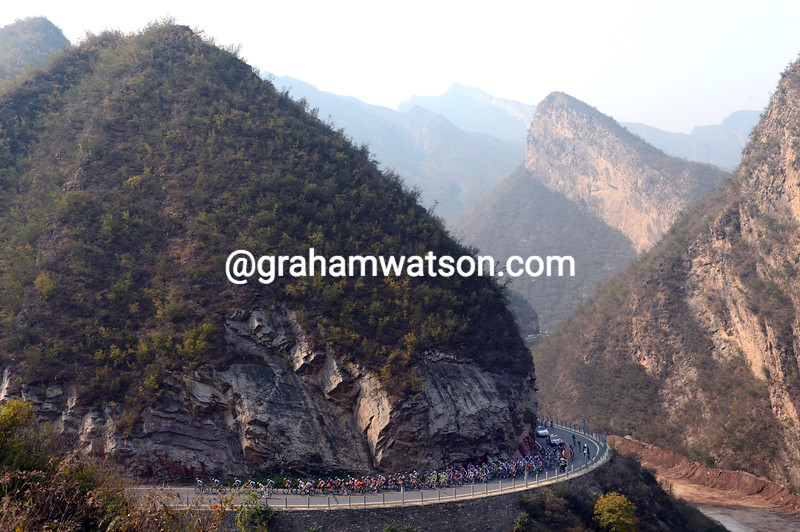 The peloton on stage three of the 2012 Tour of Beijing