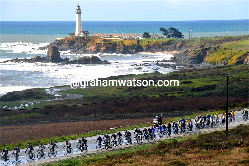 THE PELOTON RACES ALONG HIGHWAY ONE ON STAGE TWO OF THE 2009 TOUR OF CALIFORNIA