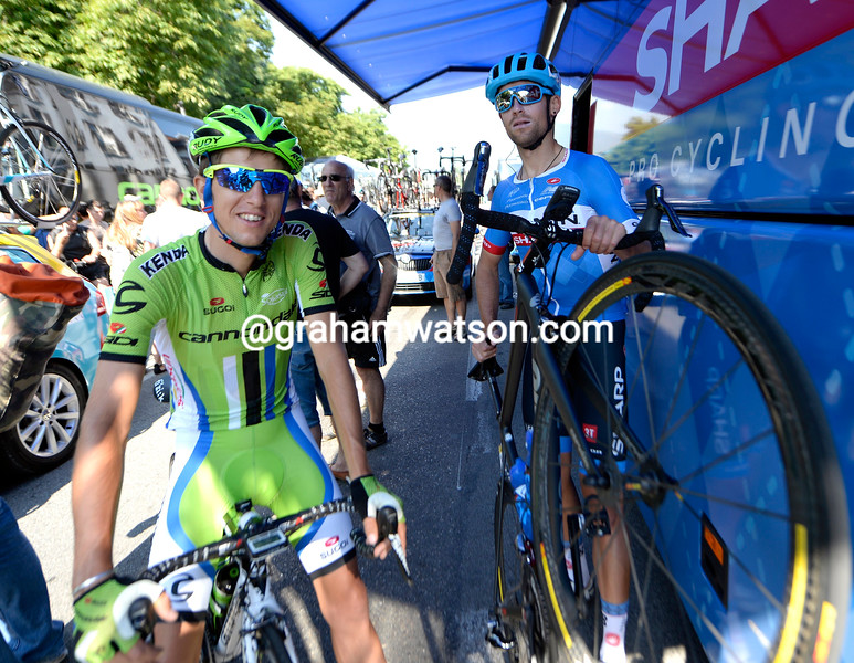 Jack Bauer and George Bennett on stage six of the 2014 Dauphine-Libere