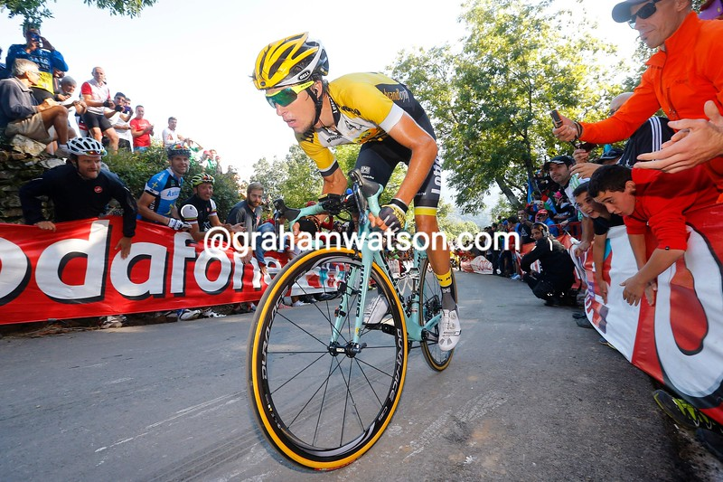 George Bennett finished 4th on Stage 16 of the 2015 Vuelta Espana in Luarca