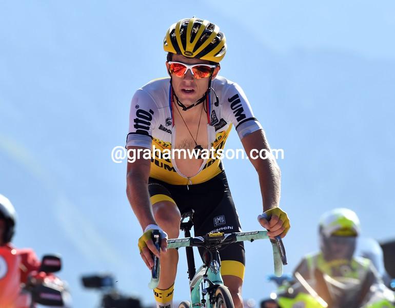 George Bennett on stage 14 of the 2016 Vuelta a España