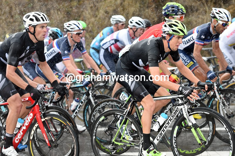 George Bennett and Jack Bauer in the mens road race at the 2014 World Road Championships