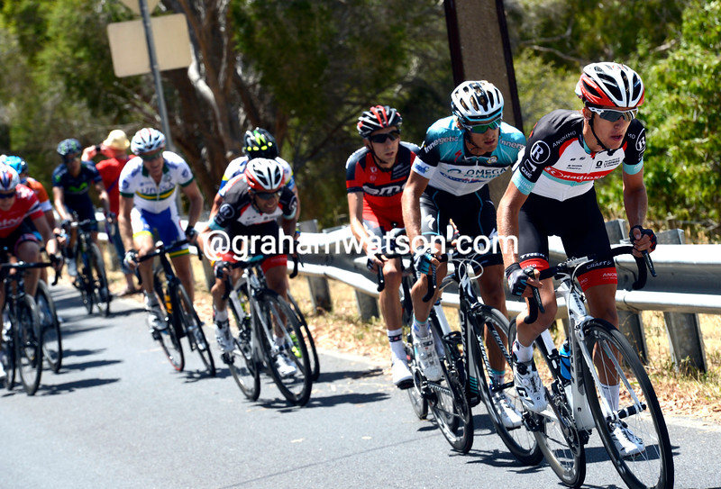 George Bennett attacks on stage five of the 2013 Tour Down Under