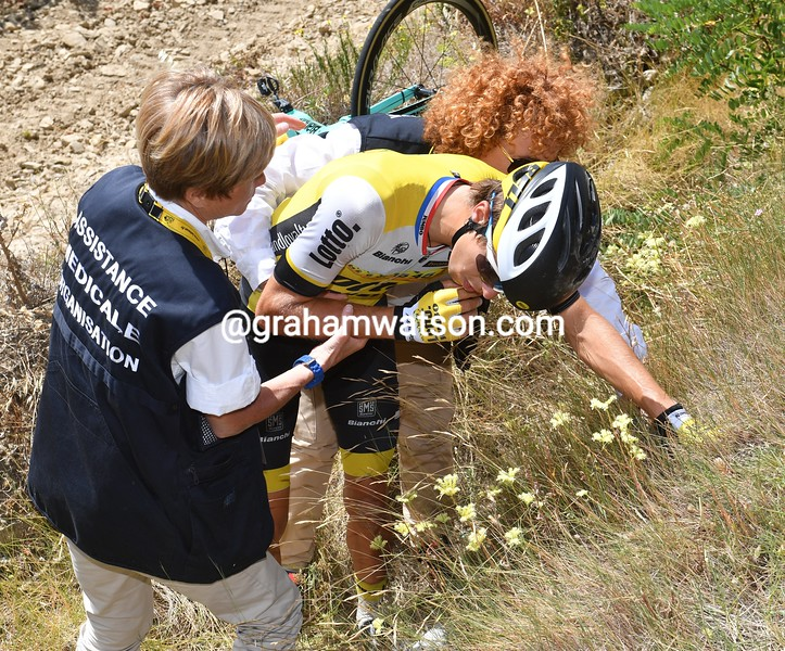 George Bennett crashes on stage 11 of the 2016 Tour de France