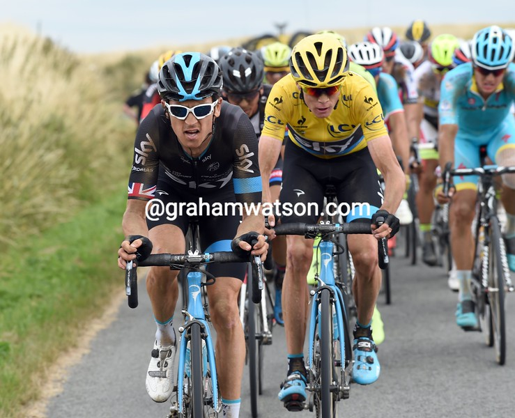Geraint Thomas and Chris Froome on stage four of the 2015 Tour de France