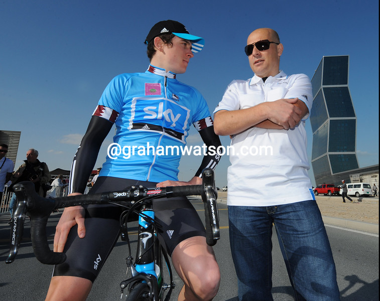 DAVE BRAILSFORD AND GERAINT THOMAS AFTER WINNING STAGE ONE OF THE 2010 TOUR OF QATAR