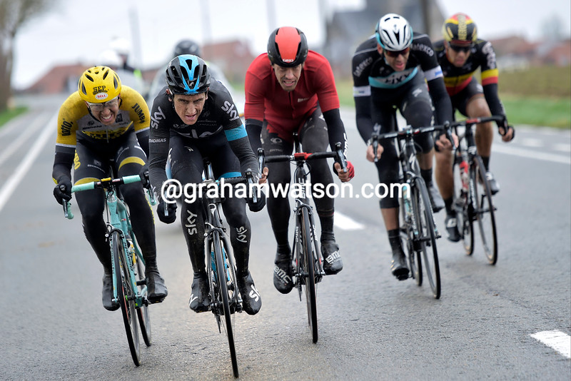 Geraint Thomas leads an escape in the 2015 Ghent-Wevelgem
