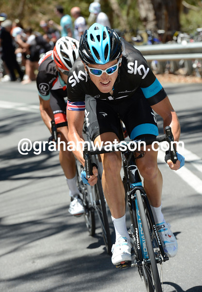 Geraint Thomas attacks on stage two of the 2013 Tour Down Under