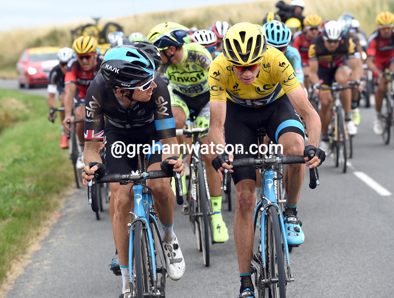 Chris Froome and Geraint Thomas on stage four of the 2015 Tour de France