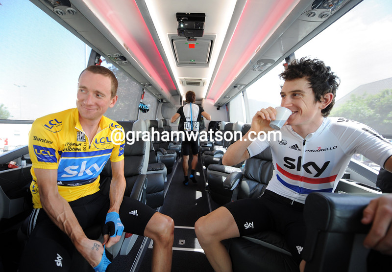 BRADLEY WIGGINS AND GERAINT THOMAS ON STAGE FOUR OF THE 2011 DAUPHINE-LIBERE