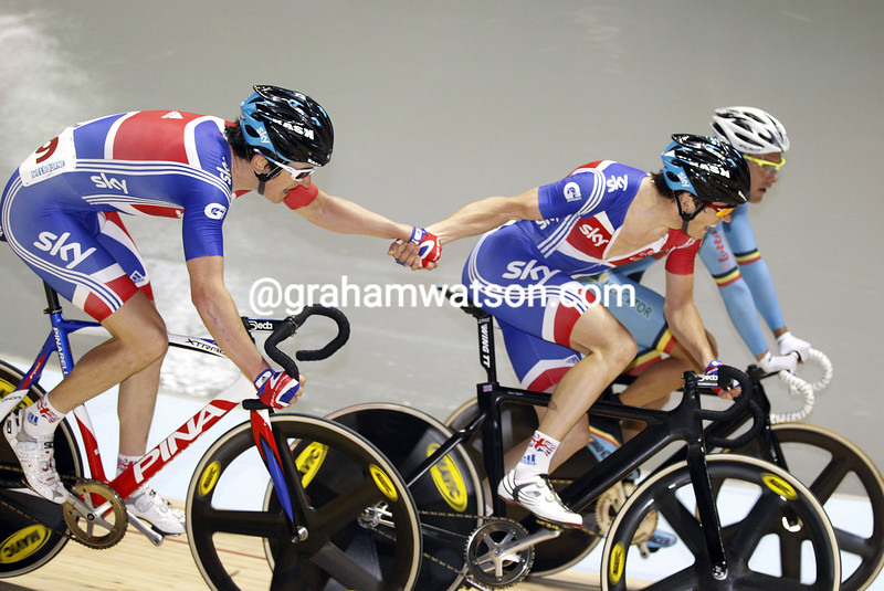Geraint Thomas and Ben Swift on their way to placing second in the Mens Madison at the 2012 World Track Championships
