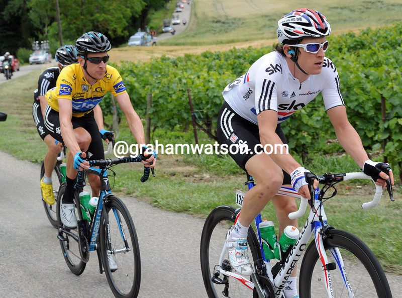 GERAINT THOMAS AND BRADLEY WIGGINS ON STAGE FOUR OF THE 2011 DAUPHINE-LIBERE