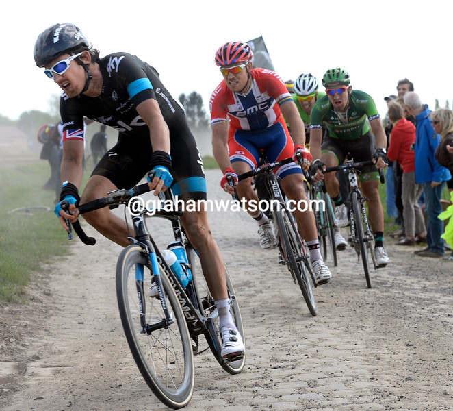 Geraint Thomas leads an escape in the 2014 Paris-Roubaix