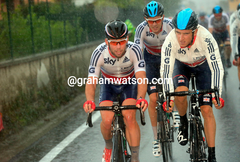 Geraint Thomas and Mark Cavendish lead the GB team in the 2013 mens road race World Championship