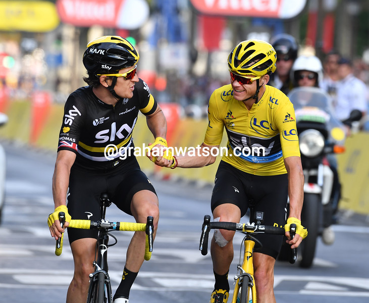 Chris Froome and Geraint Thomas on stage 21 of the 2016 Tour de France