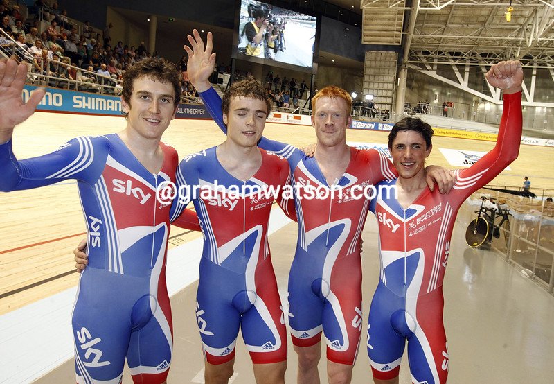 Geraint Thomas after Great Britain win the mens team pursuit at the 2012 World Championships