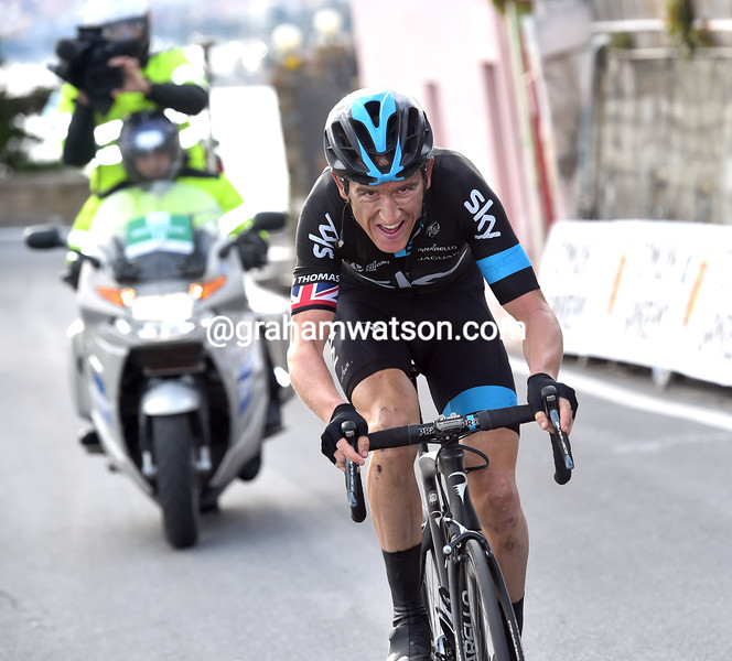 Geraint Thomas escapes in the 2015 Milan-San Remo