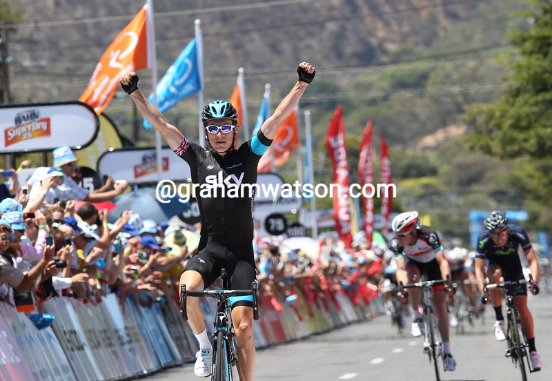 Geraint Thomas wins stage two of the 2013 Tour Down Under