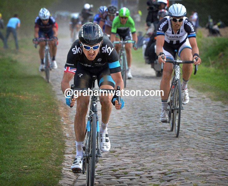 Geraint Thomas in the 2014 Paris-Roubaix