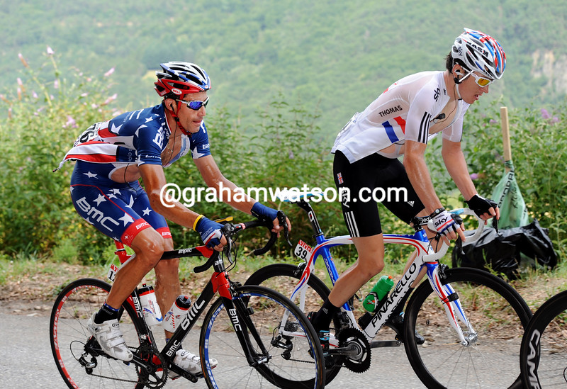 GERAINT THOMAS AND GEORGE HINCAPIE ON STAGE NNE OF THE 2010 TOUR DE FRANCE