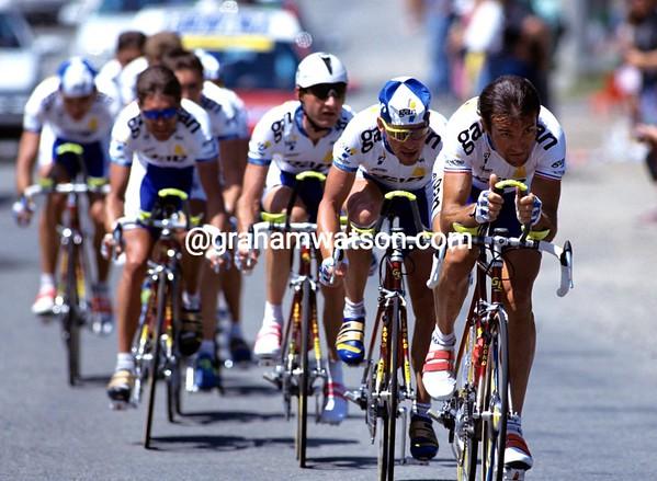 Gilbert Duclos-Lassalle leads the GAN team in the 1993 Tour de France