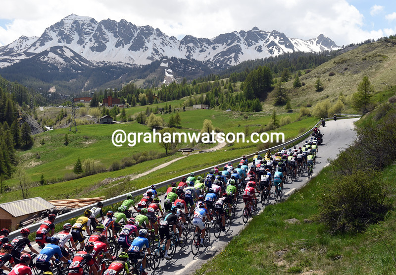 The peloton climbs the Col de Vars on stage twenty of the 2016 Giro d'Italia