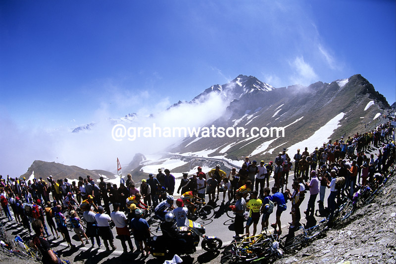Cyclists climb the Colle di Agnello in the 2000 Giro d'Italia