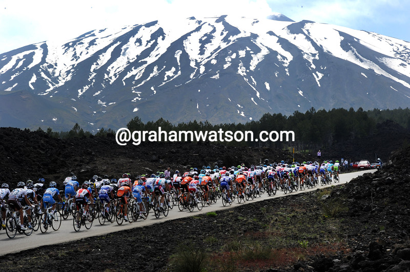 THE GIRO CLIMBS TO MT ETNA ON STAGE NINE OF THE 2011 GIRO D'ITALIA