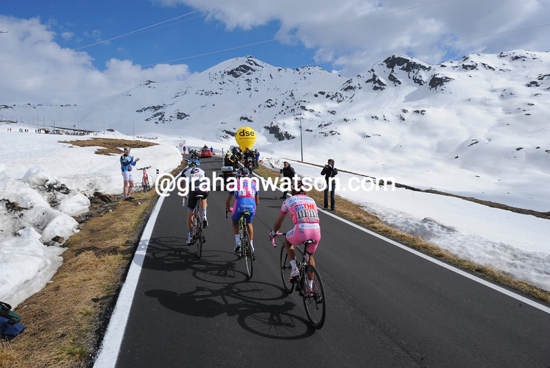 Ryder Hesjedal and Joachim Rodriguez climb the Stelvio Pass on stage twenty of the 2012 Giro d'Italia