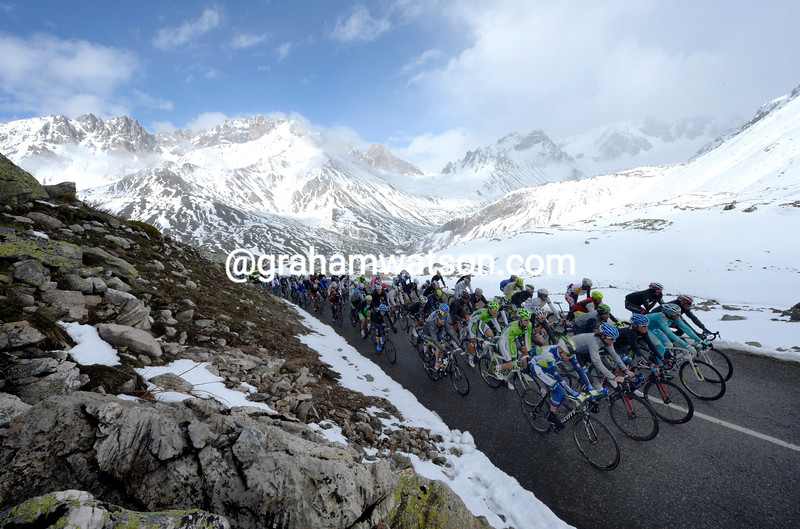 The peloton climbs the Col du Galibier on stage fifteen at the 2013 Giro d'Italia