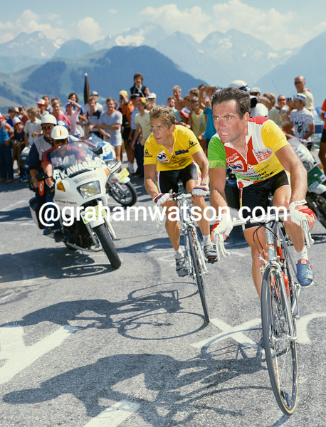 Bernard Hinault and Greg LeMond race to Alpe d'Huez in the 1986 Tour de France