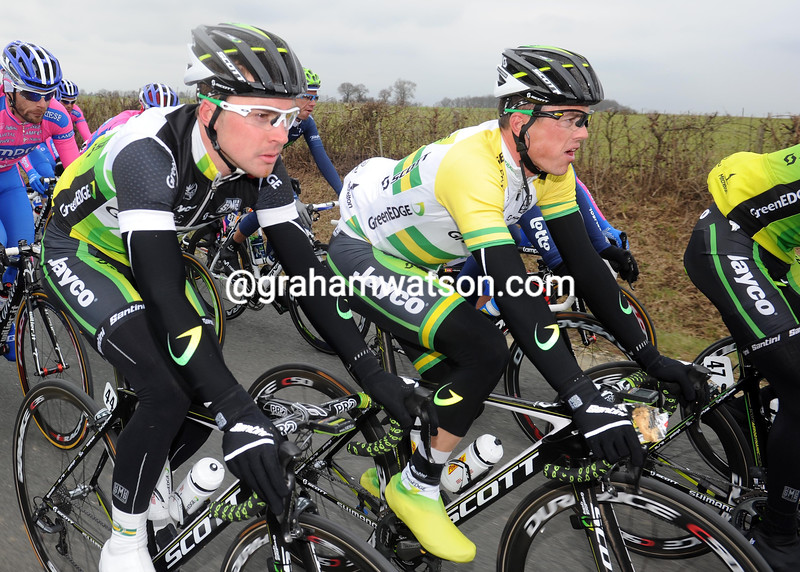 Leigh Howard and Simon Gerrans on stage three of the 2012 Paris-Nice