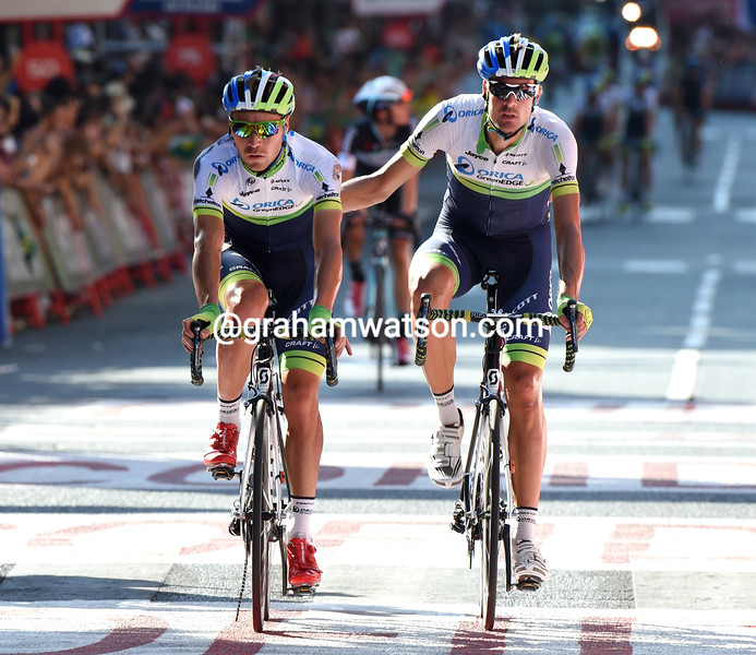 Sam Bewley and Mitch Docker atfer a crash on stage twelve of the 2014 Tour of Spain