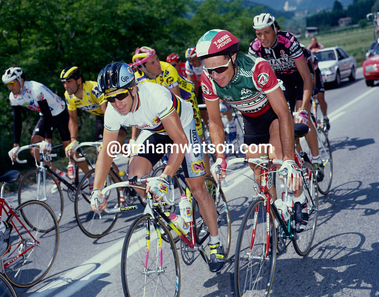 Jeff Pierce and Greg. LeMond in the 1990 Tour de France