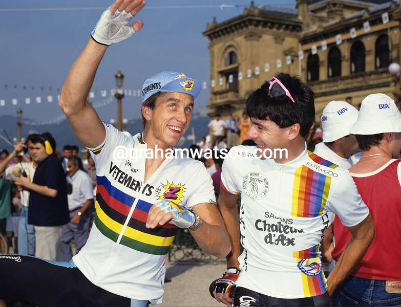Gianni Bugno and Greg Lemond in the1990 Clasica San Sebastian