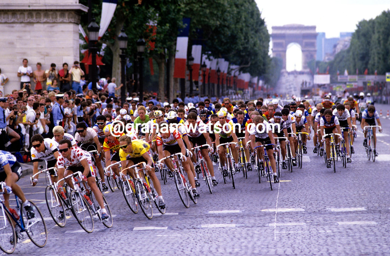 Greg LeMond and Bernard Hinault in Paris in the 1986 Tour de France