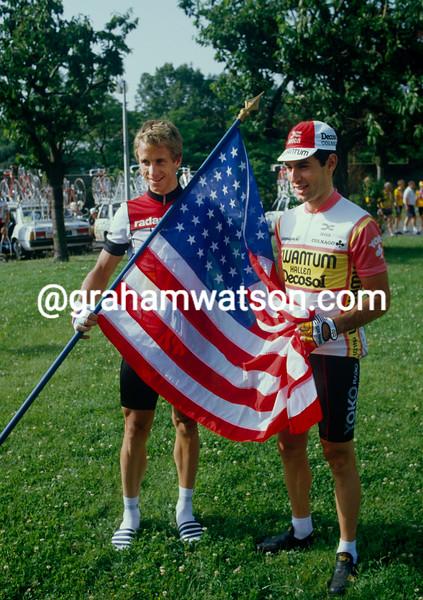 Greg Lemond and Doug Shapiro on a stage of the 1984 Tour de France