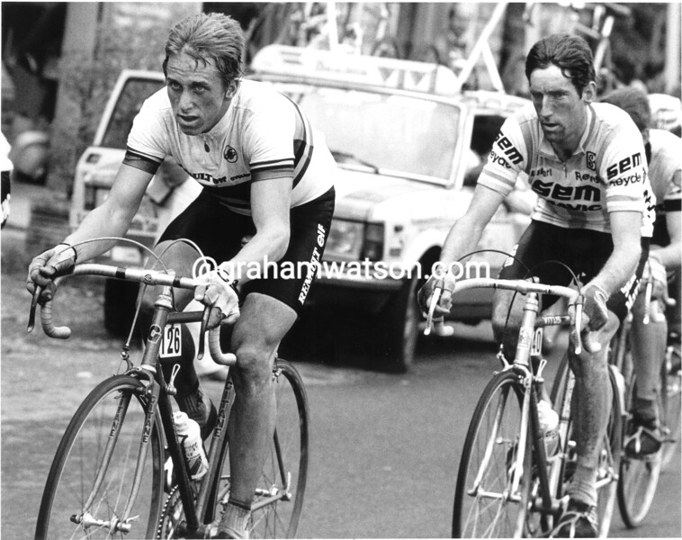 Greg Lemond and Sean Kelly in the 1983 Giro di Lombardia