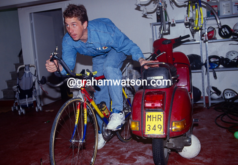 Greg LeMond in his garage in Belgium in 1991