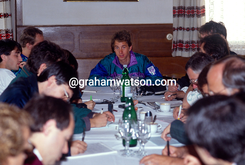 Greg LeMond holds a media press conference in the 1990 Giro d'Italia