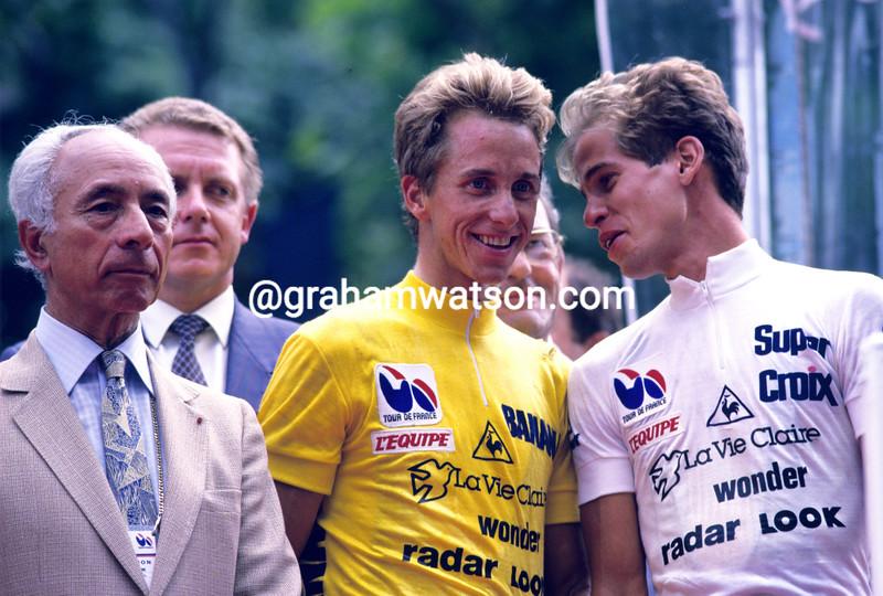 Greg Lemond and Andy Hampsten at the 1986 Tour de France