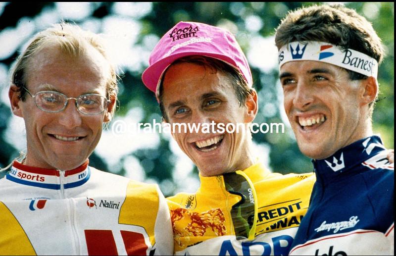 GREG LEMOND, LAURENT FIGNON AND PEDRO DELAGADO ON THE PODIUM OF THE 1989 TOUR DE FRANCE