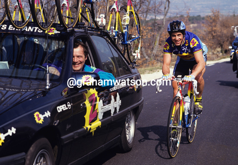 Greg Lemond and Roger Lejeay in the 1992 Paris-Nice