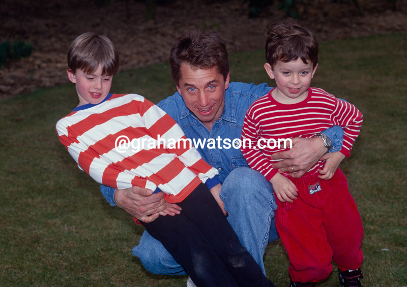 Greg LeMond with his children, Scott and Geoffrey,  in Belgium in 1991