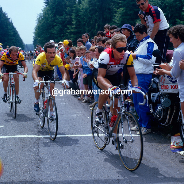 Greg Lemond and Bernard Hinault in the 1985 Tour de FRance