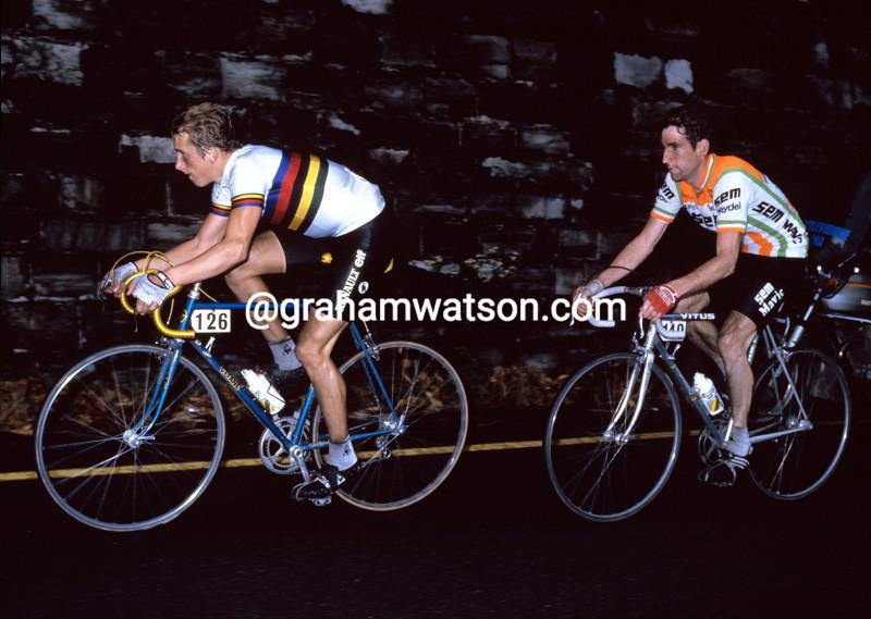 Greg Lemond and Sean Kelly in the 1983 Giro di Lombardia