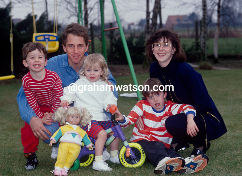 Greg LeMond with Kathy and his children in Belgium in 1991