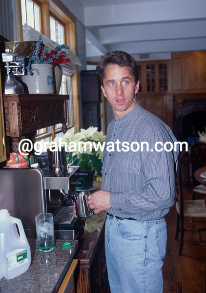 Greg LeMond in his kitchen in Belgium in 1991