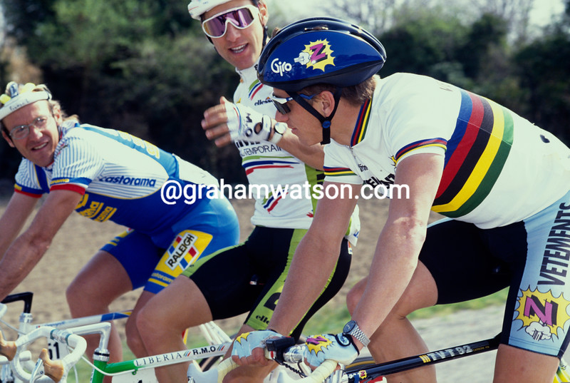 Greg LeMond with Fignon and Mottet in the 1990 Paris-Nice