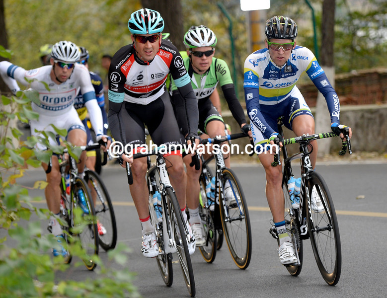 Hayden Roulston leads an escape on stage three of the 2013 Tour of Beijing